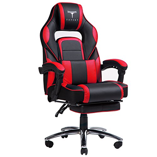 TOPSKY High Back Racing Style PU Leather Computer Gaming Office Chair (Red) Ergonomic Reclining Design with Lumbar Cushion Footrest and Headrest