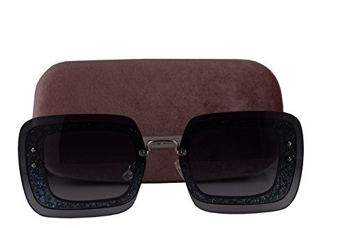 Miu Miu MU01RS Sunglasses Grey Glitter Crystal w/Blue Gradient Lens UES4R2 MU 01RS For - Miu Sunglasses Glitter Miu