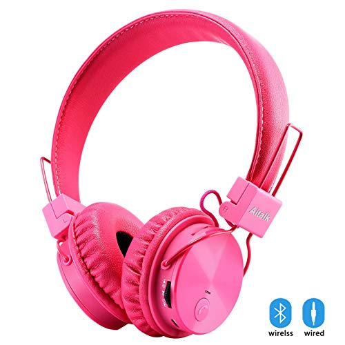 (Kids Headphones Bluetooth, Foldable Wireless/Wired Stereo HD On-Ear Headset with 3.5mm Jack SD Card FM Radio Microphone Volume Control Over Ear Children Headphones for Girls Boys School iPhone,)