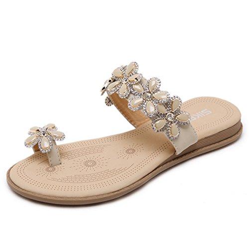 Flops Comfortable Fleur Décor Bohème Plage Flip pour Femme Talons Style Plats Kaki Chaussures de d'été Mode Sandales Casuel en Fanessy w0x1Uqz