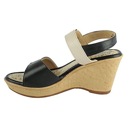 Hi-Attitude Womens Black Beige Synthetic Sandals (450077411003) - 6 UK