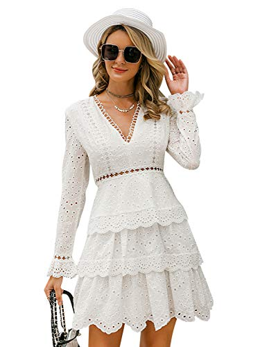 Simplee Women's White Lace Embroidery Hollow Out Keyhole O Neck High Waist Elegant A Line Mini Dress (8, White 03) (Embroidery Lace Sleeve)