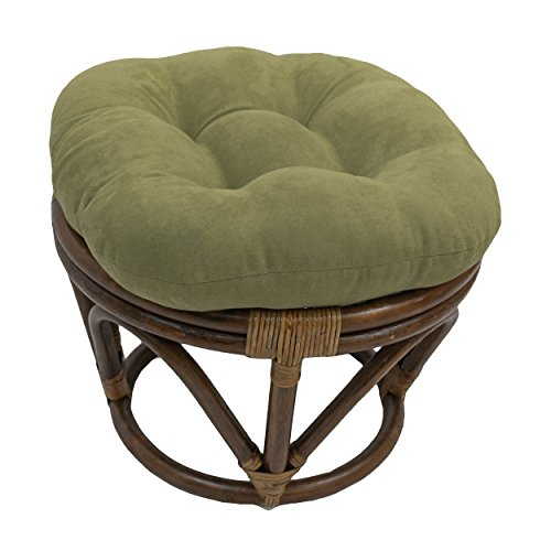 Microsuede Cushion - Blazing Needles Solid Microsuede Tufted Round Footstool Cushion, 18