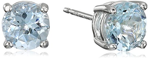 Rhodium Plated Sterling Silver Genuine Aquamarine 6mm Round March Birthstone Stud Earrings