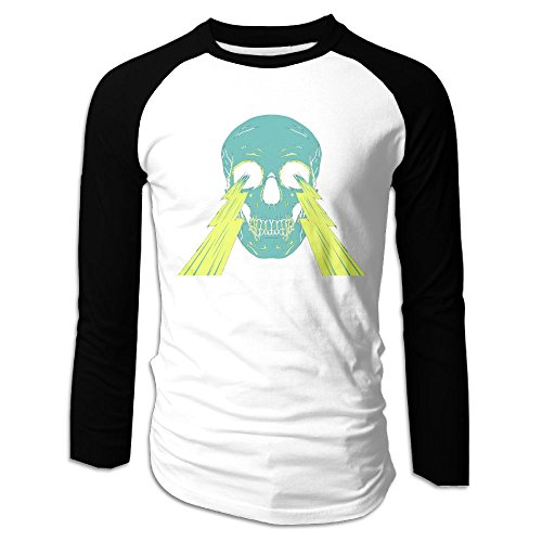 Costume Contest The Office Quotes (Men's Lightning Skull Tri-Blend Long Tee Baseball Shirt Raglan Size XXL Color Black)