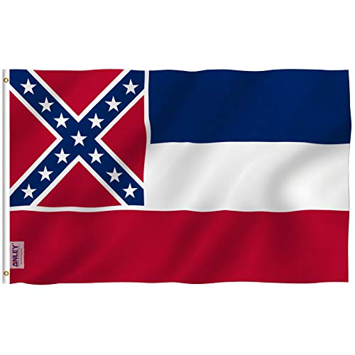 Anley Fly Breeze 3x5 Foot Mississippi State Polyester Flag - Vivid Color and UV Fade Resistant - Canvas Header and Double Stitched - Mississippi MS Flags with Brass Grommets 3 - Ms Flag Garden