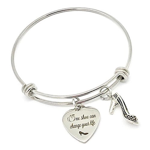 One Shoe Can Change Your Life, Cinderella Inspired Princess Bangle - Glass Disney Bracelets