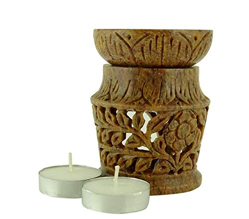 Karguzzari Marble Soapstone Indian Candle Aroma Oil Diffuser Tea Light Oil Warmer T Light Aroma Oil Burner Essential Oil Lamp Aromatherapy Diffuser 3 Inch Marble (MRB-8)