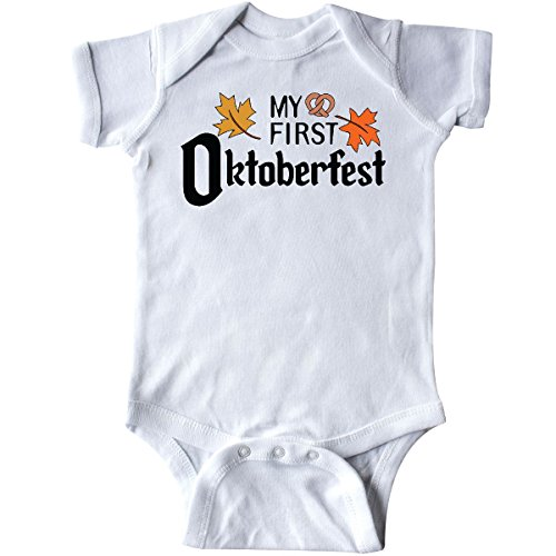 inktastic - My First Oktoberfest with Fall Leaves Infant Creeper 12 Months White - German Baby Clothes