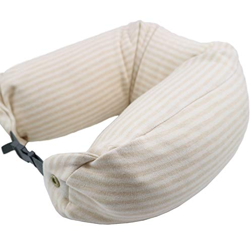 or Travel Lumber Pain Pillow for Chin Leg Head Support U Shape Pillow for Airplane Train Business Trip Office Nap 100% Nature Colored Cotton Case Light Brown Stripe Design, 1 Piece ()