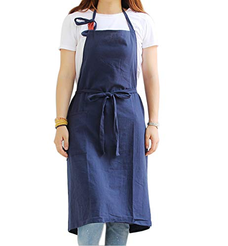 Chef Work Aprons for Men - Extra Long Waist Ties, Adjustable Neck Strap, Plus Size, Cotton Fabric, 1 Pocket, Cooking Baking Gardening (Plain Navy)