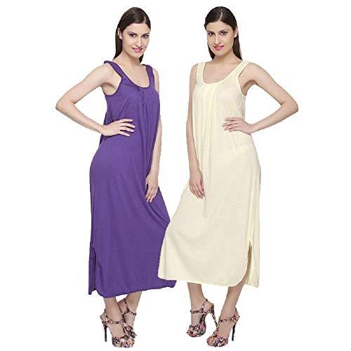 TI AMO Women's Cotton Long Slips Full Length Camisole – Combo Set of 2 (Free Size)_ Purple/Lemon Yellow