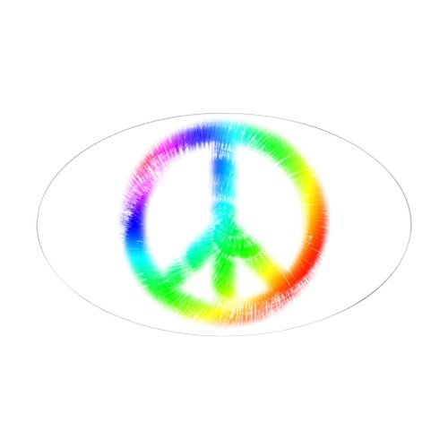 CafePress - Tie Dye Peace Sign Oval Sticker - Oval Bumper Sticker, Euro Oval Car Decal