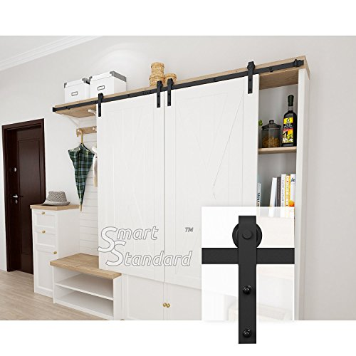 SMARTSTANDARD 8FT Mini Sliding Barn Door Hardware Kit, for Double Cabinet TV Stand Closet, Black, Two-Piece Track Rails, Easy to Install, Fit 24