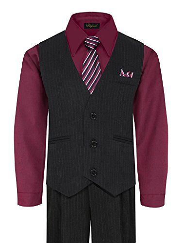 (iGirlDress Little Boys' and Special Occasion Pinstripe Vest Set Black/Burgundy 3)