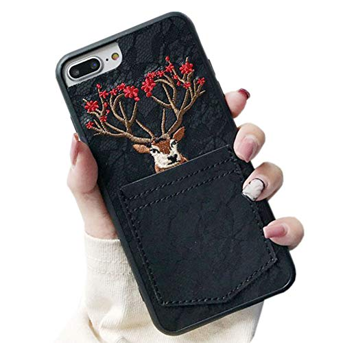 SGVAHY Wallet Card Case for iPhone XR,Luxury Cute Embroidered Sika Deer Design Fashion Lace Back Soft Silicone Bumper Shockproof Protective Case for iPhone XR (Black, iPhone XR) (Designs Sika)