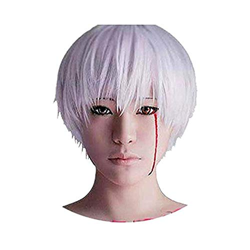 DAYISS Ken Kaneki Cosplay Anime Halloween Short Wig Unisex Cosplay Silver Wig]()