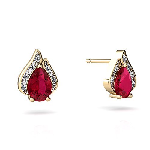 14kt Yellow Gold Lab Ruby and Diamond 6x4mm Pear Flame Earrings 14kt Gold 6 Diamond Earrings