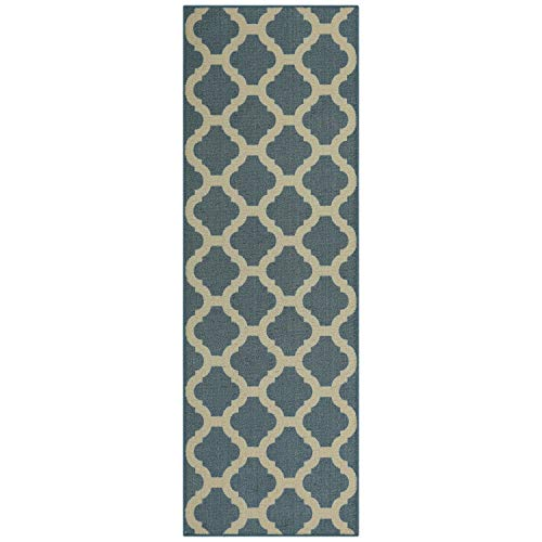 - Maples Rugs Runner Rug - Eliza 2 x 6 Non Skid Hallway Entry Rugs Runners [Made in USA] for Kitchen and Entryway, Blue