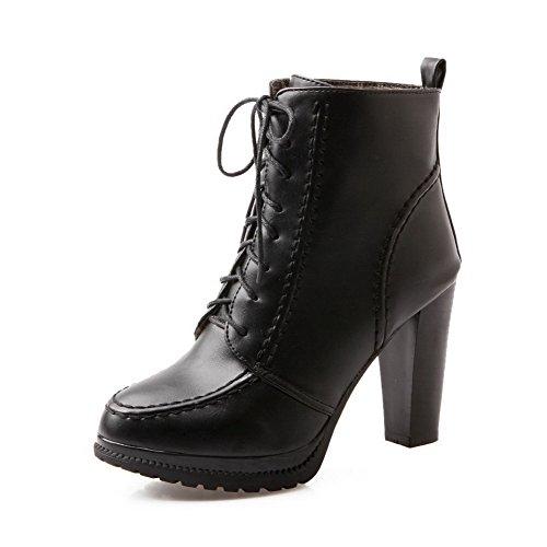 AgooLar Women's Pointed-Toe Kitten-Heels PU Solid Lace-up Boots Black wSjprtih