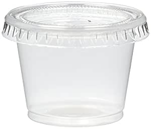 Reditainer - Plastic Disposable Portion Cups - The Souffle Cup (1 Ounce, Package of 100 Cups With Lids)
