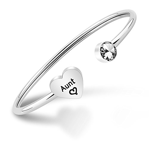 PLITI Aunt Bangle Bracelet Auntie Jewelry Gifts from Niece Cuff Bracelets for Women (Silver)