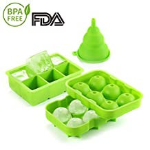 Ice Cube Tray, Silicone Ice Cube Making trays BPA Free Wine Chillers with Lid 2-Inch Square Ice Cube 1.7-Inch Ice Balls for Jelly Cocktails Whiskey - 3 Pack Green
