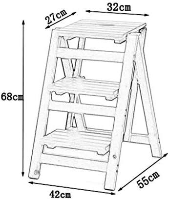 CCSU 3 étapes échelle Tabouret en Bois Massif Support de Fleur étagère Pliante marchepied Chaise Multifonction intérieur Escalade échelle Petit Tabouret, capacité 150 kg
