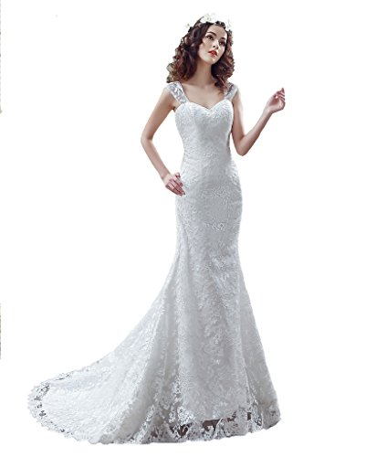 BoShi Women's Straps Court Train Mermaid Lady Bridal Gowns Wedding Dresses US 10 by Unknown