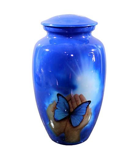eSplanade Cremation urn Memorial urn Container Jar Pot Cremation urns Full Size Standard Urns Metal Urns Burial urns Butterfly