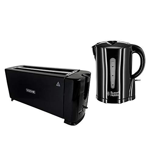 Russell Hobbs 1.7L Essentials Gloss Black Cordless Kettle + Voche 4 Slice 1300W Toaster Set