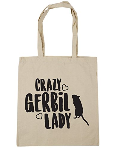 HippoWarehouse Crazy jerbo Lady Tote Compras Bolsa de playa 42cm x38cm, 10litros Natural