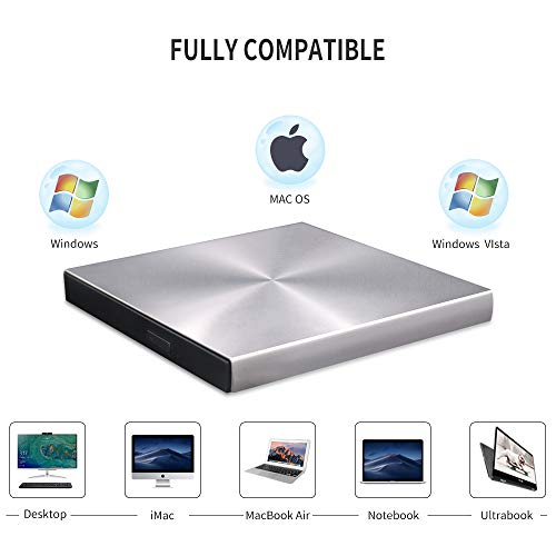 Blu Ray External 3D Drive Reader Burner, USB C 3.0 and Type-C  Writer Slim Optical Portable Bluray CD DVD Drive RW for Laptop Desktop MacBook Windows 7 8 10 PC iMac Laptop (Silver)