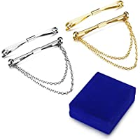 LOYALLOOK 4pcs Silver Gold Tone Mens Tie Collar Bar Pin Set for Wedding Business with Gift Box