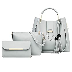 Womens Bags??�3pcs Leather Handbag Shoulder Bag Card Package??�2019 New Messenger Bag For Women Gray