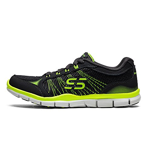 Skechers Gratis Ring Leader Womens Lace Up Sneakers Charcoal/Lime ATOAOP