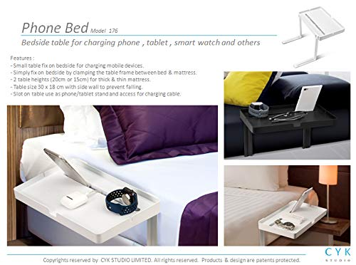 Phone Bed/_Bedside Shelf Bedside nightstand with Cable Management Tablet Holder Table Earphones. Very Simple /& Easy Assemble Organizer for Charging Cables
