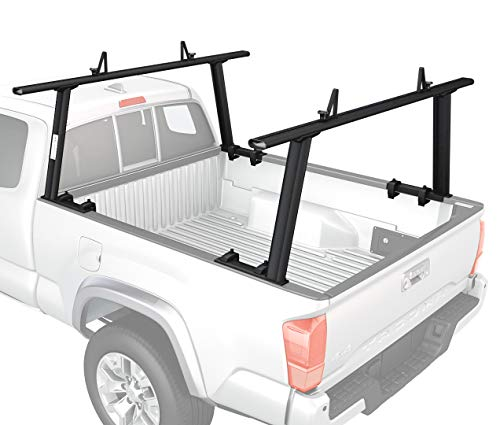 Custom Pickup Truck Parts - AA-Racks Model APX25 Extendable Aluminum Pick-Up Truck Ladder Rack (No drilling required) - Sandy Black