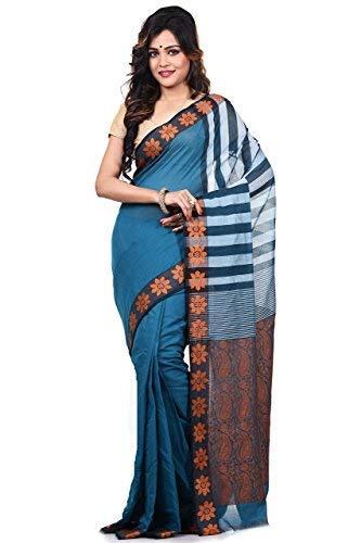 (Bengal Handloom Saree Women's Pure 100 Count Cotton Tangail Azo Free Dye Free Size White)