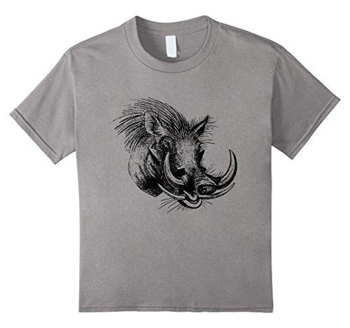 Kids Warthog Boar Shirt Pig Hunting African Hunter T-Shirt 8 Slate (Warthog Pig)