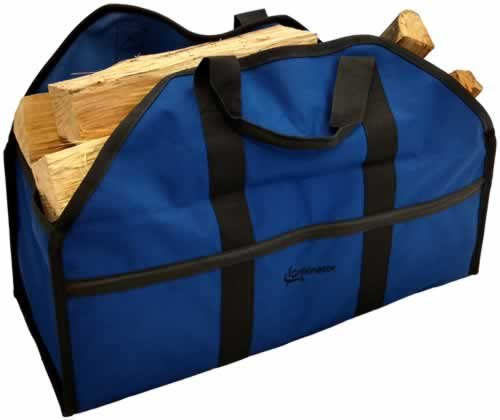 Grillinator Ultimate Firewood Log Carrier - Blue - Heavy Duty Durable Tote Bag for Wood - Self Standing Design with Padded Handles - 16 Gallon Capacity for Fireplace, Beach & Groceries