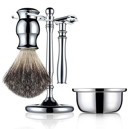 Stainless Steel Wet Shaving Set Including 100% Pure Badger Hair Brush, Manual Double-sided Razor, Stand Holder, Soap Bowl, Great Gift Option for your Man