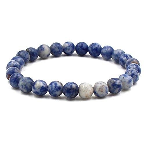 BaiYunPOY 8mm Handmade Charm Prayer Beaded Yoga Bracelet for Men Women - Natural Energy Beads Bracelet Healing Bangle - Lapis Lazuli
