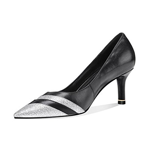MuMa Court Shoe Shallow Mouth Pointed High-Heeled Shoes Temperament Wild Fashion Stitching Shoes Women Black v3rYG4L9