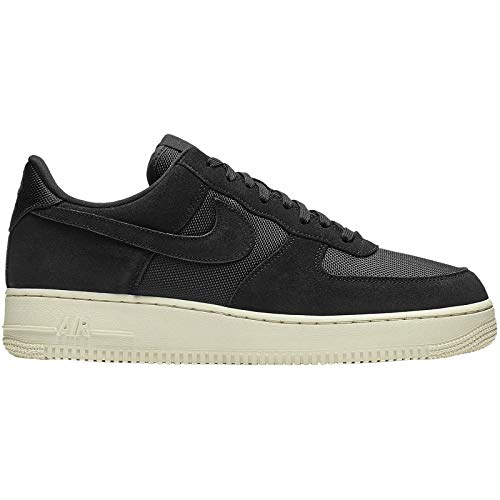Nike Mens Air Force 1 07 Suede Textile Black Pale Ivory Trainers 9.5 US
