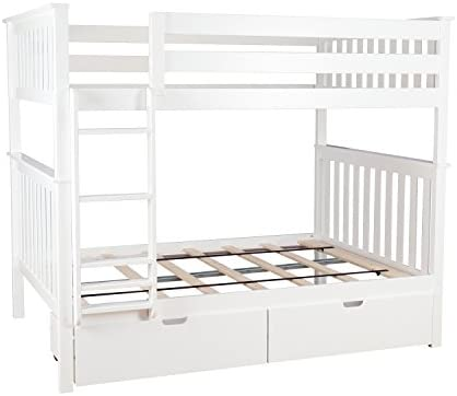 Max Lily 187251-005 Solid Wood Full Bunk Bed Storage Drawer