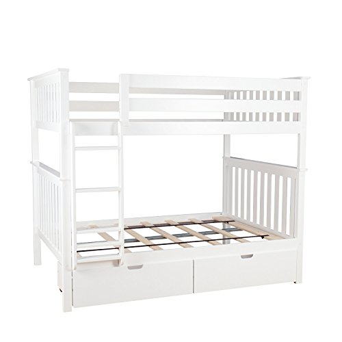Max Lily 187251-005 Solid Wood Full Bunk Bed Storage Drawers, White, Full Full