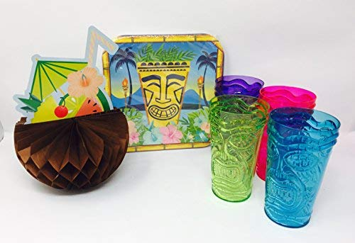 Tiki Hawaiian Party Plate Bundle with Plates, Table Decoration and 4 Tiki Tumblers ()