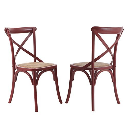 Adeco Elm Wood Vintage-Style Curved Leg Dining Chair Red Color Set of Two