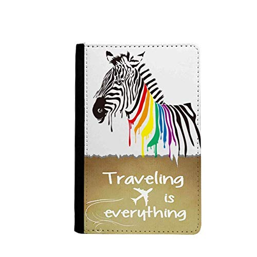 Zebra LGBT Rainbow Color Pattern Traveling quato Passport Holder Travel Wallet Cover Case Card ()